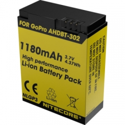 nitecore battery replacement 1180mah for gopro hd hero 3 or 3 ahdbt 302 nlgp3 black or yellow 1  large